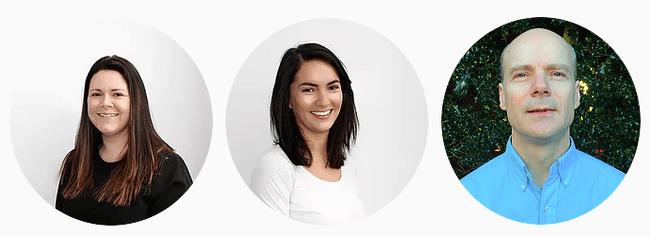 Circula headshots of two dark-haired women and one bald man.