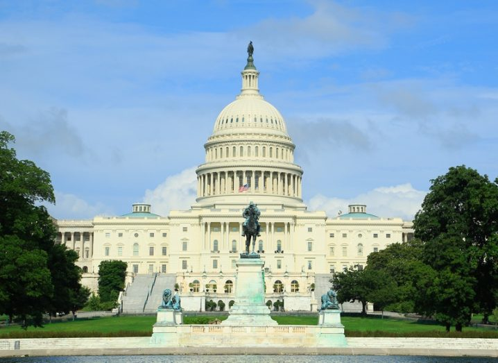 US congress building in Washington DC, with blue sky.