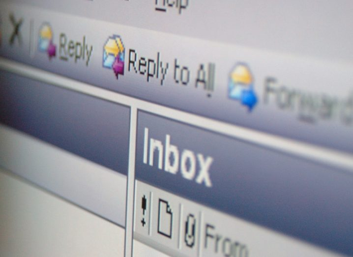 Close-up of an email inbox open on a PC.