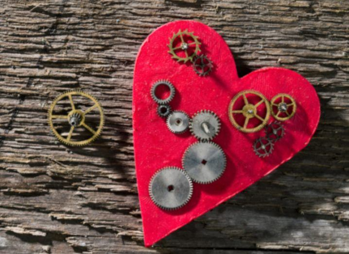 Gears on the background of the heart.