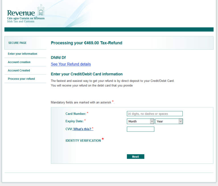 A screenshot from Eset displaying the convincing Revenue scam website.