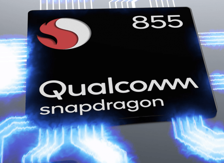Close-up of Qualcomm's new snapdragon 855 processor.