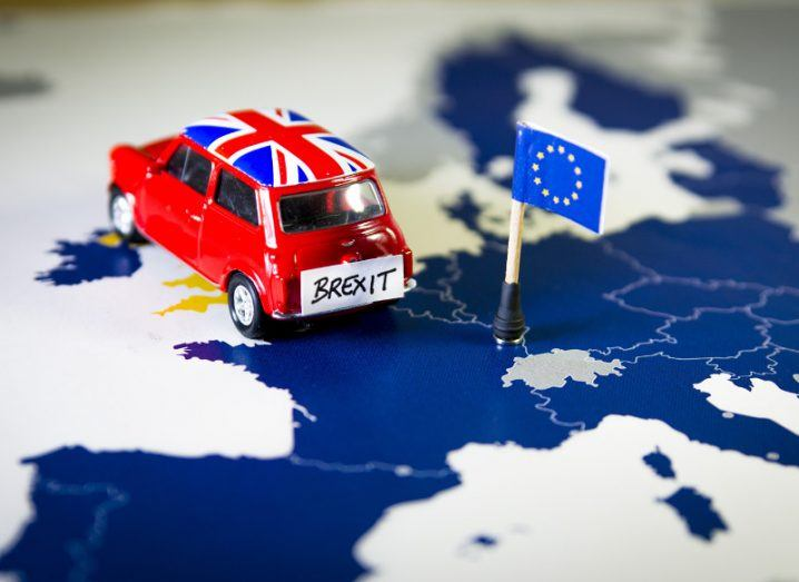 Picture of a red mini depicting the UK's departure from the EU.