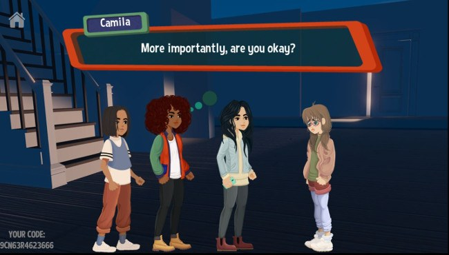 A screenshot of the Cyber Squad game. Four young, diverse female avatars standing in front of a stairs.