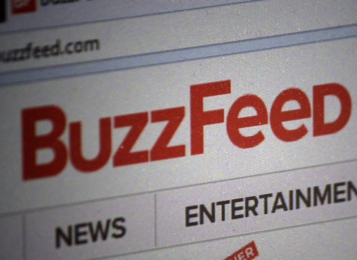 A view of a computer screen logged on to the BuzzFeed website with the red company logo in clear view.