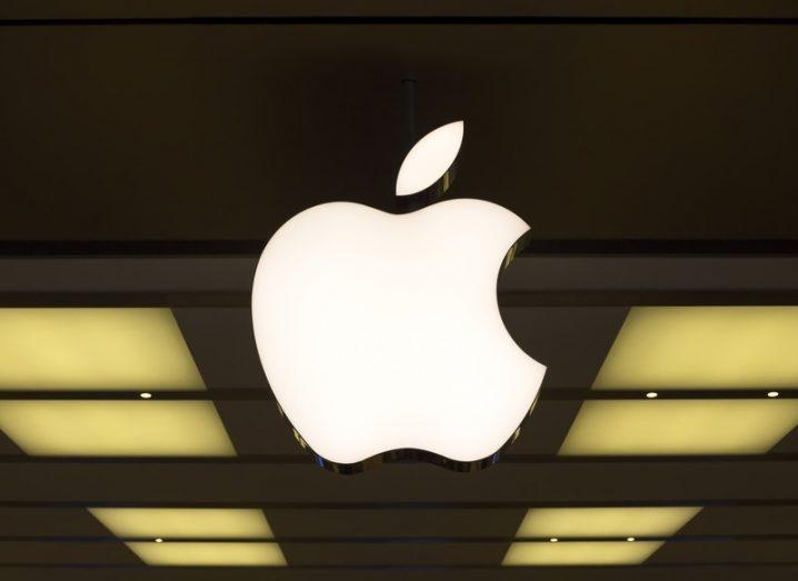 Illuminated Apple logo on the wall of its Sydney, Australia, retail location.