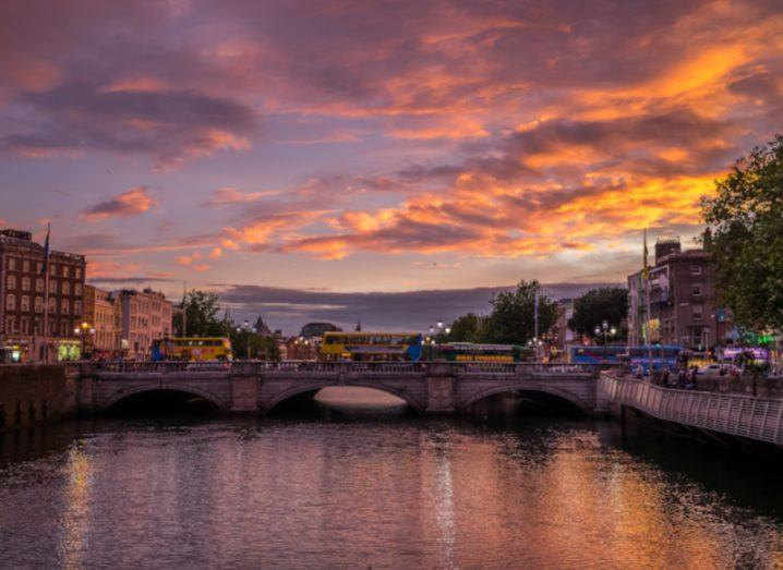 Sunset over O'Connell Bridge in Dublin.