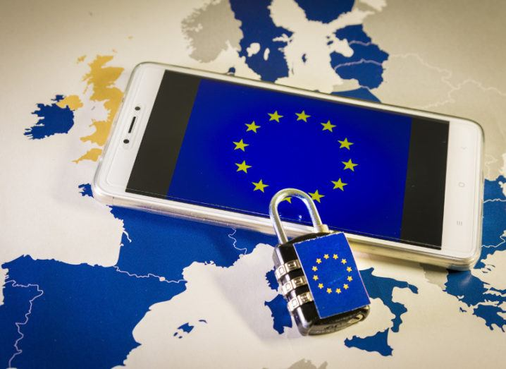 Android phone with EU padlock on a map of Europe.