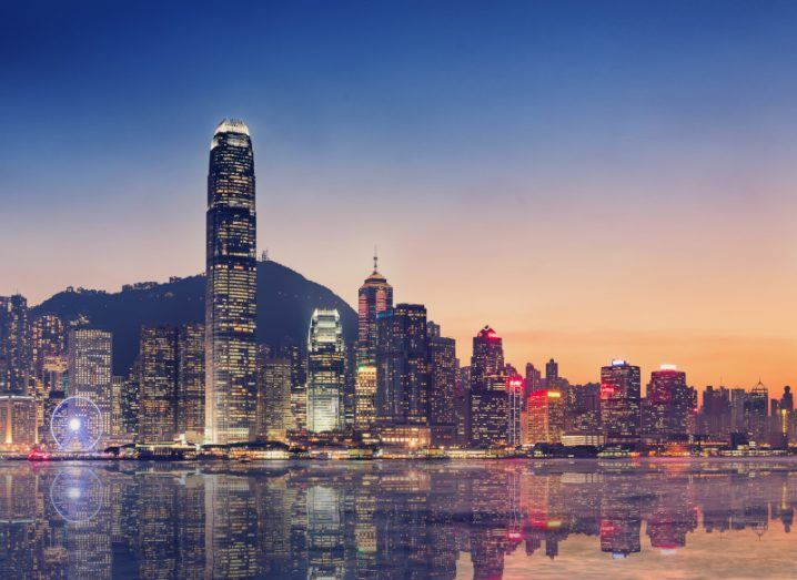 Hong Kong island at twilight.