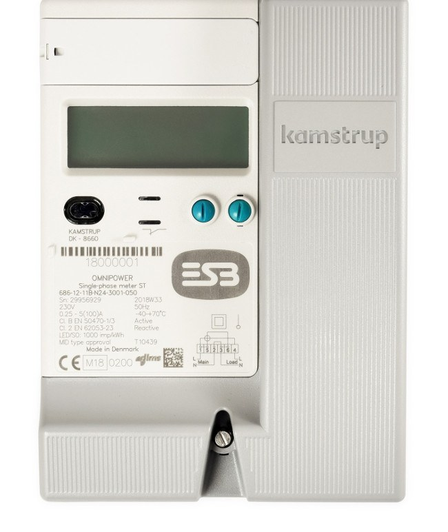 A close-up of a new ESB smart meter with a display and buttons.