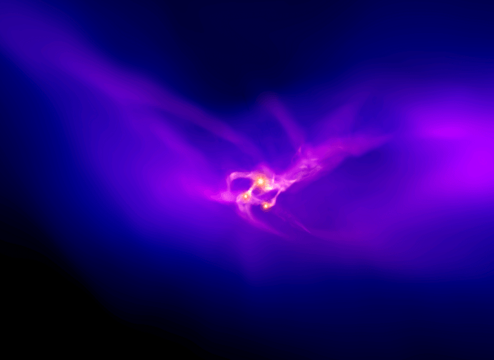 Composite image of dark matter halo, represented by a mist of purple and pink.
