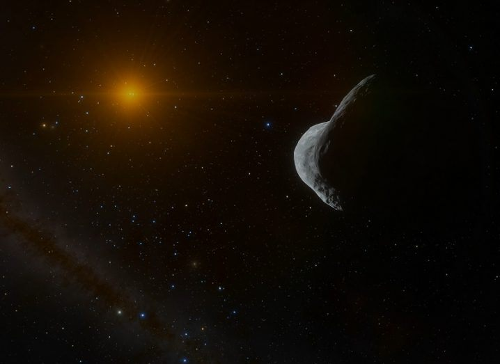 Illustration of Ultima Thule in the Kuiper Edgeworth Belt with the distant sun in the background.
