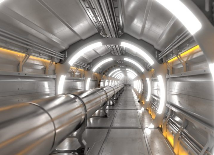 How the steel interior tunnel of the Future Circular Collider will look with bright lights lining its length.
