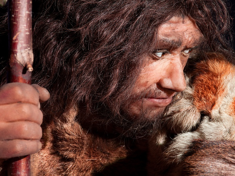 Close-up of a Neanderthal waxwork man with long hair and beard holding a spear.