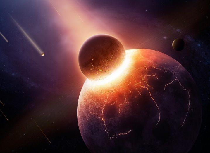 Illustration of a large planetary body colliding with the Earth at great speed.