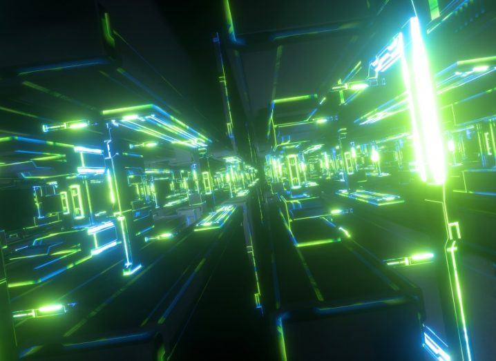 3D render of a green and blue virtual world representing a quantum computer.