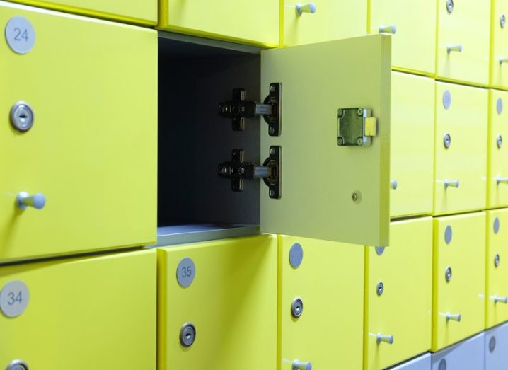 Interior of a locker room in fitness club. Green lockers representing security.