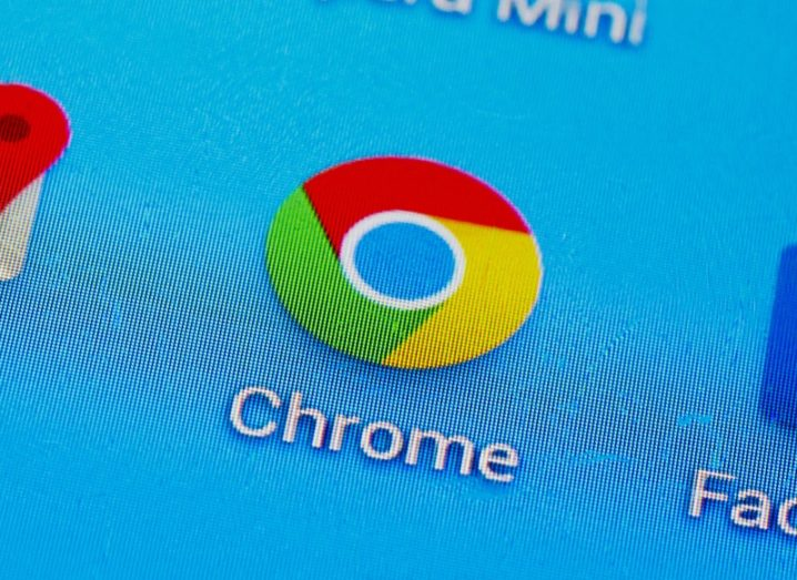 Google Chrome browser icon on a smartphone, surrounded by other app icons such as Maps and Skype.