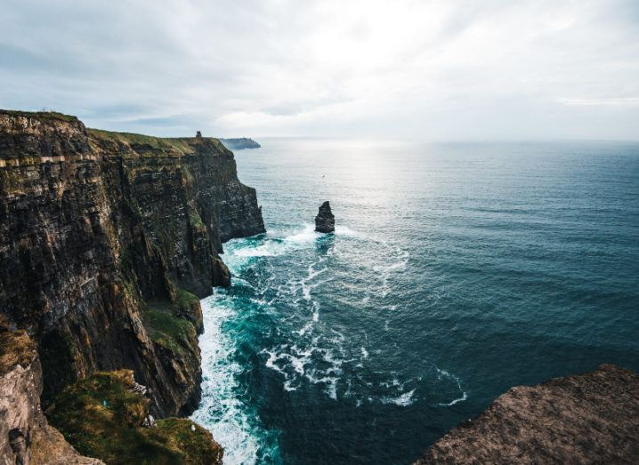 view of the cliffs of moher on west coast of Ireland.