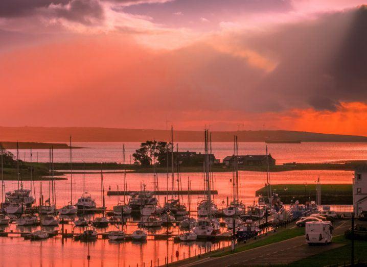 Sunset over Kilrush marina in County Clare.