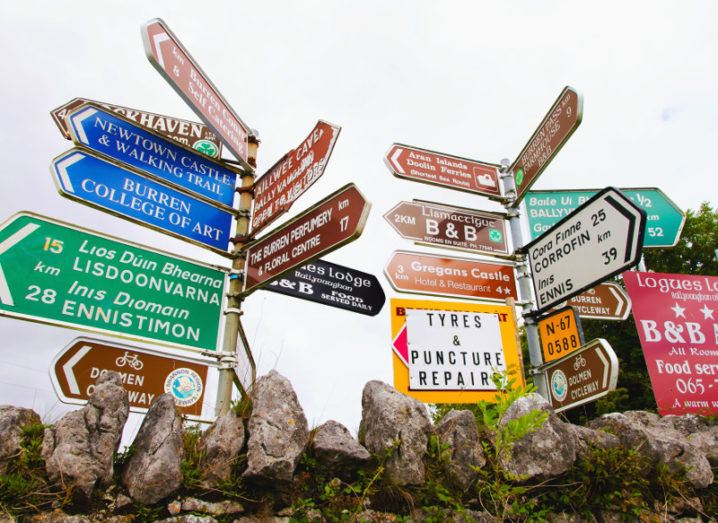 Picture of various colourful road signs in Irish countryside pointing in different directions.