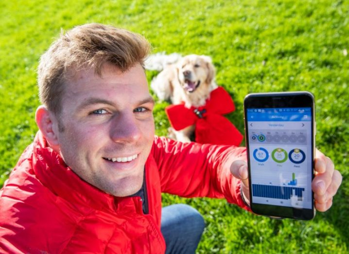 Young blonde man smiling and holding a smartphone displaying results from the Vodafone pet tracker, his Golden Retriever dog wearing a red bow in the background.