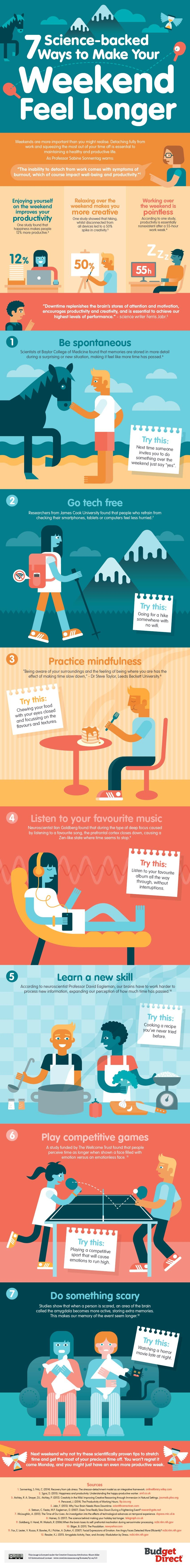an infographic about making the weekend seem longer