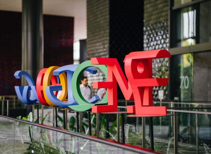 Google logo outside offices in Singapore with coloured letters.