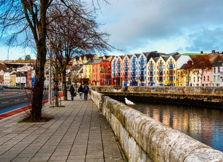 A view of the bank along the River Lee in Cork with colourful houses.