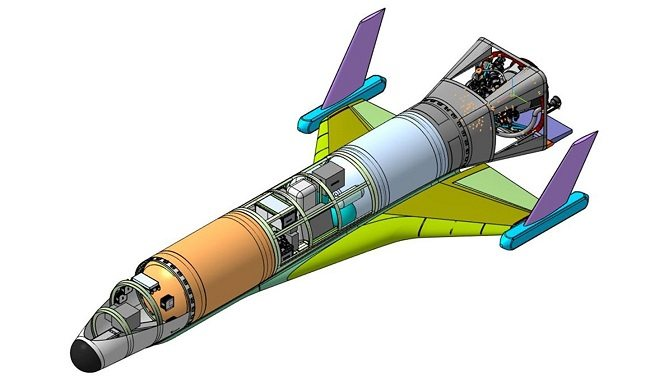 Multi-coloured schematic of the drone spacecraft with a long conical front and small delta wings.