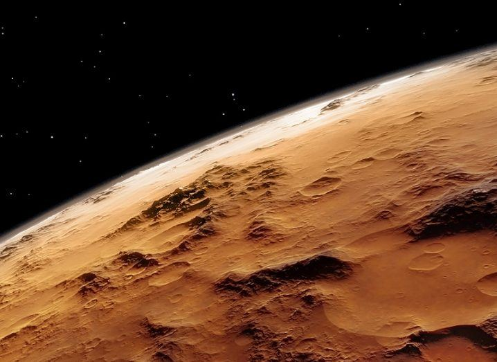 3D render of the surface of Mars as seen from orbit.