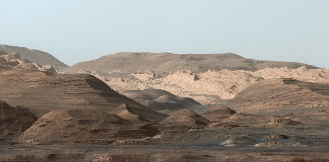 A shot of the higher regions of Mount Sharp on Mars.