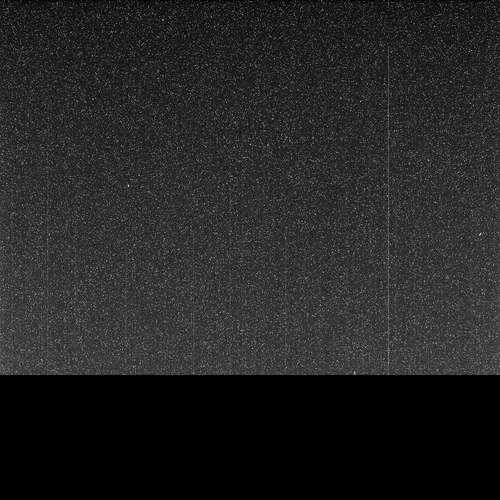A black and white static image shot by Opportunity with a pitch black bar at the bottom.
