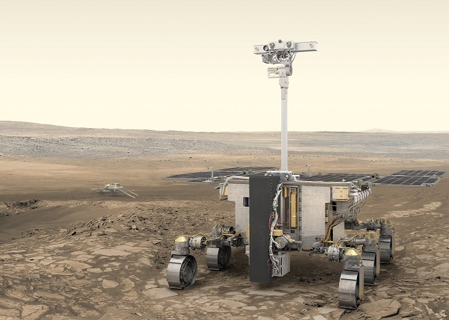 Rendering of the Rosalind rover with extended arm against a desolate Martian surface.