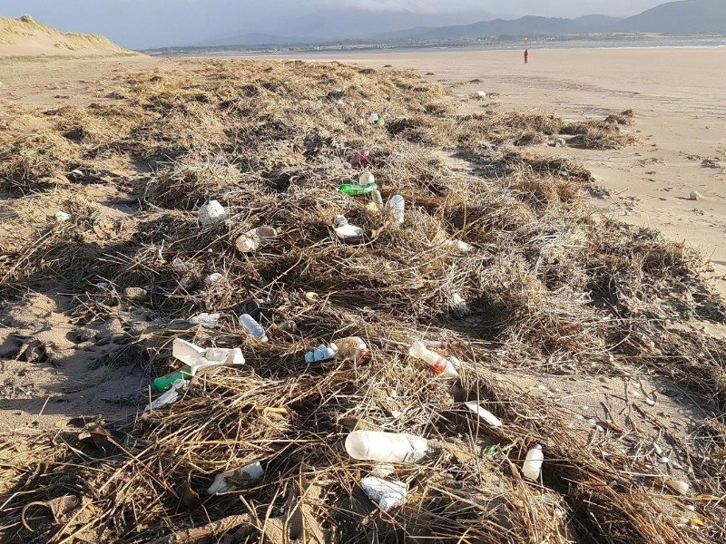 Sea borne plastic bottles on a part of Inch Strand in Kerry, November 2018.