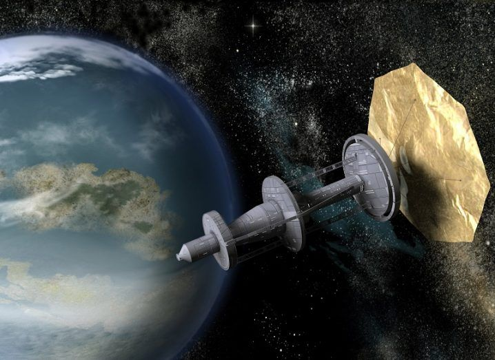 Concept drawing of a large spacecraft powered by a solar sail passing an Earth-like planet.