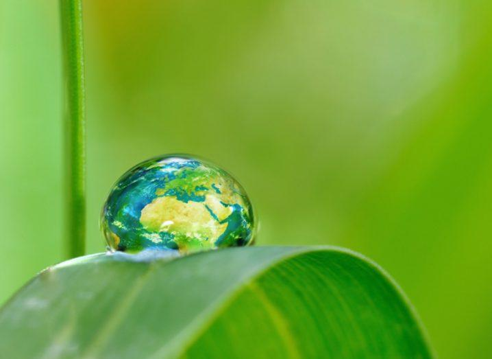 Picture of the planet Earth in the shape of a drop of water nestled on a green leaf.