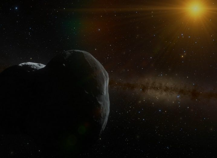 Rendering of Ultima Thule in the foreground with a distant sun in the background.