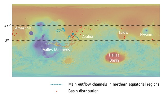 Infrared satellite map of the waterways and ancient lakes beneath Mars.