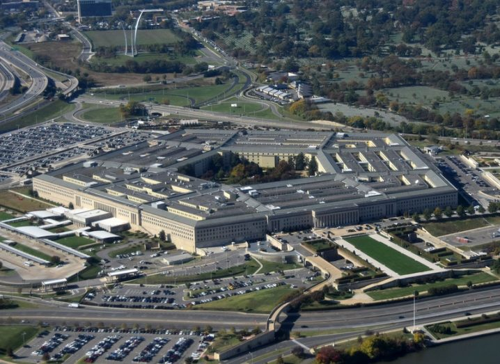 US Pentagon. Ministry of Defence in Washington DC, seen from above.