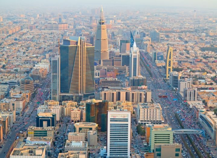 Aerial view of the capital of Saudi Arabia, Riyadh, downtown. Large skyscrapers and bright sunlight.
