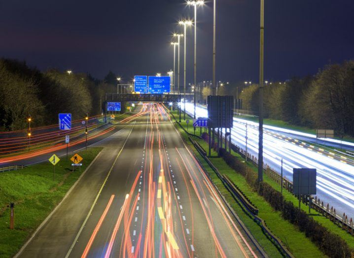 Picture of car lights up and down the M1 motorway near Dublin at night.