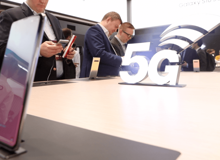 5G official logo on a table of Samsung S10 phones at Mobile World Congress 2019.