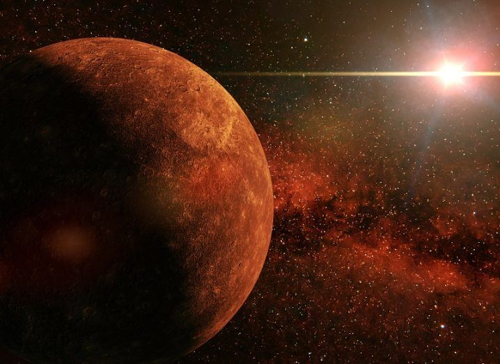 3D render of a large red planet with a nearby star in the background.