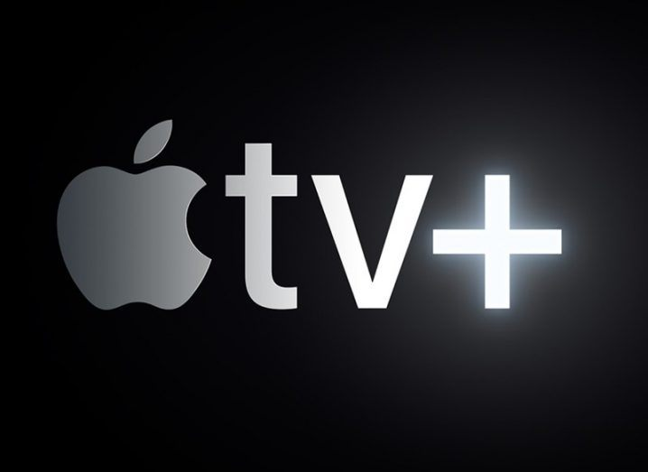 Close-up of the logo for the new Apple TV service.