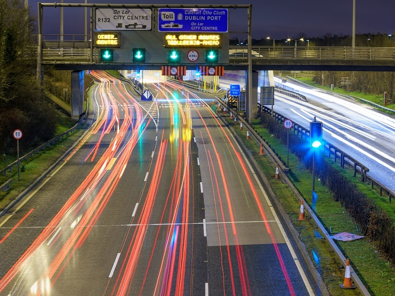 Timelapse of busy Irish motorway with trails of headlights following the course of the road.