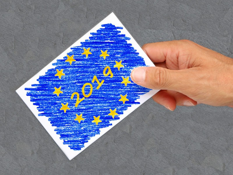 A crayon-drawn image of the EU flag with 2019 in its centre in the hand of a person about to cast a vote.
