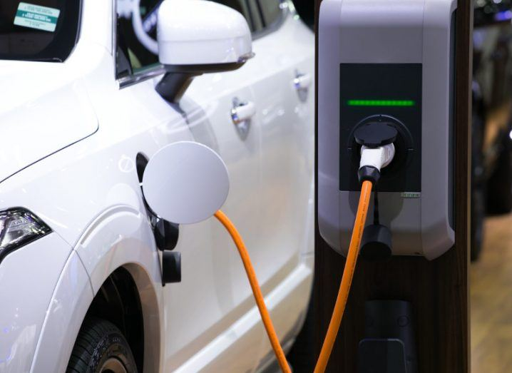 Close-up on an electric car charging station.