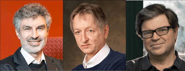 Headshots of Yoshua Bengio, Geoffrey Hinton, and Yann LeCun.