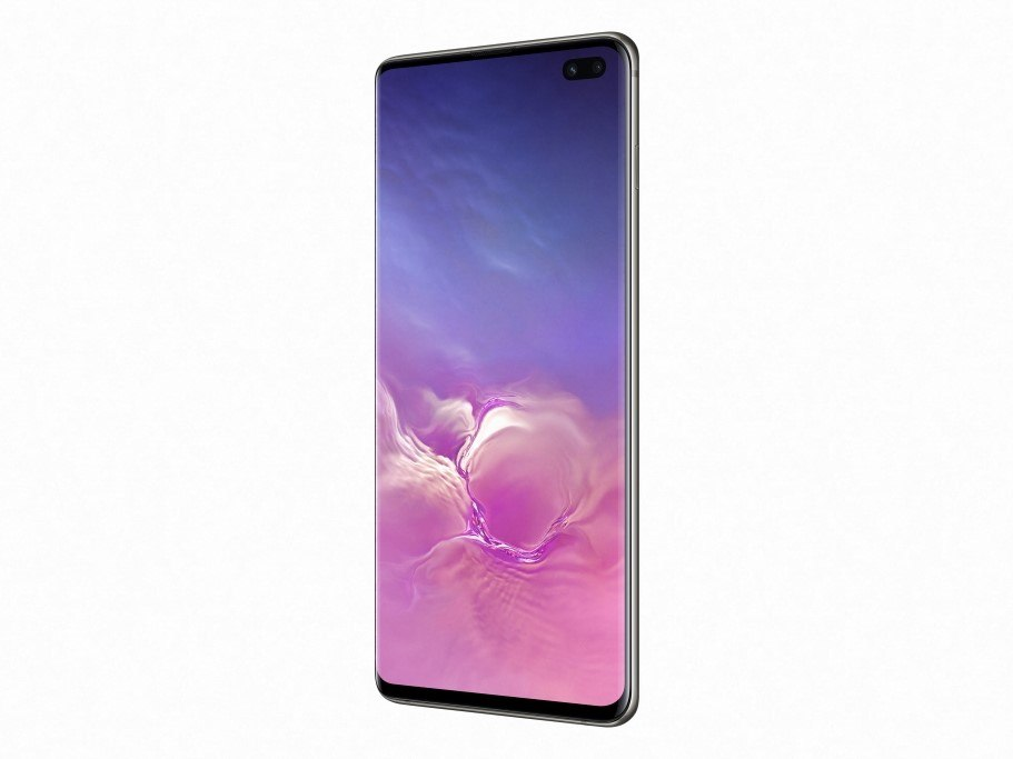 The new Samsung Galaxy S10+ smarpthone with lovely lilac and pink clouds on display.
